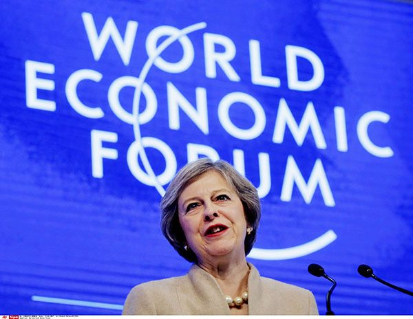 British Prime Minister Theresa May speaks on the third day of the annual meeting of the World Economic Forum in Davos, Switzerland, Tuesday, Jan. 17, 2017. (AP Photo/Michel Euler)/ME112/17019353219958/1701191052