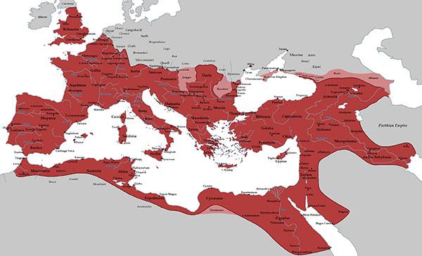 Empire romain sous Trajan, en 117 ap.J.-C.