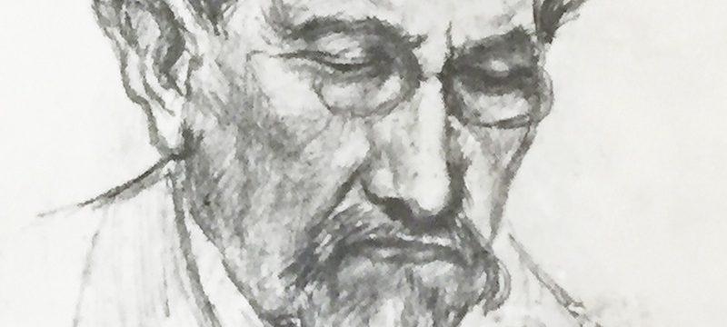 Maurras à l'imprimerie. Crayon d'Alfred Tricot, camelot du Roi.