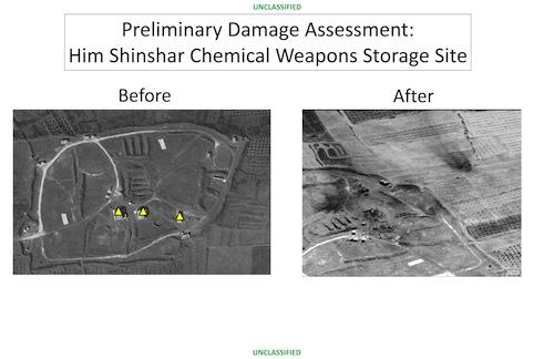 Telles sont les images que le Département de la Défense a présentées le 14 avril après les frappes de missiles américains sur le site syrien d'Him Shinshar de stockage d'armes chimiques.